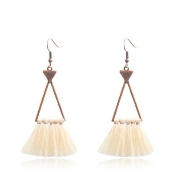 Jewelry - Boho Tassel Triangle Earrings